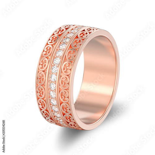 Ilration Isolated Rose Gold Decorative Wedding Bands Carved Out Ring With Ornament Shadow