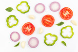 Top view of fruits and vegetables Isolated on a white background - 201335291