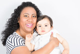 curly mother black african with chid boy  mixed race - 201338430