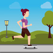 young woman riding a skateboard sport in the park vector illustration