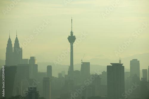 kuala lumpur moning view with fogs