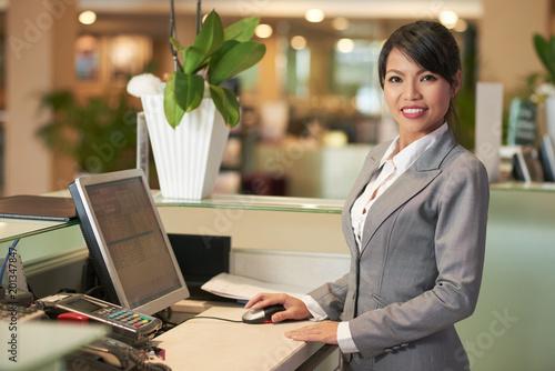 Pretty receptionist