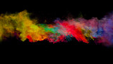 Abstract colored powder explosion isolated on black background. - 201348812