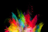 Abstract colored powder explosion isolated on black background. - 201348832