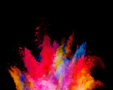 Abstract colored powder explosion isolated on black background. - 201348845