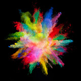 Abstract colored powder explosion isolated on black background. - 201348871