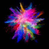 Abstract colored powder explosion isolated on black background. - 201348889