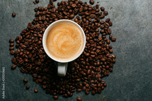 Wall mural Cup of espresso from above
