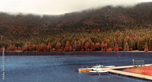 Foto Murales volcano lake landscape