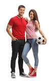 Young couple with a football - 201355269