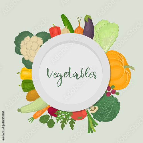 A plate surrounded by vegetables. There are pumpkin, eggplant, zucchini, cucumber, potato, carrots, cabbage, beetroot, onion, pepper, garlic and radish in the picture. Vector illustration