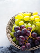 White and dark grapes in a basket on gray. Abstract minimal fruit still life - 201359031