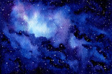 Watercolor Outer Space and Nebula - 201359680