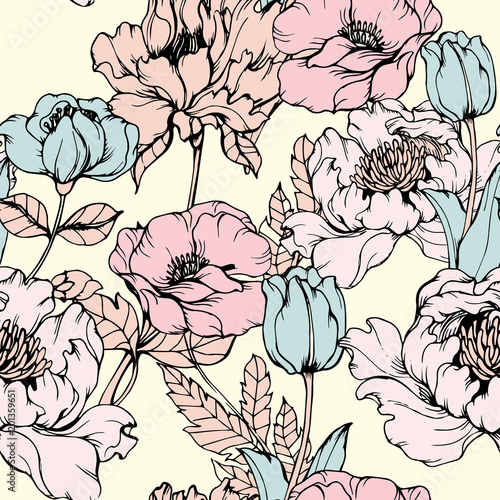 Abstract elegance pattern with floral background. - 201359651