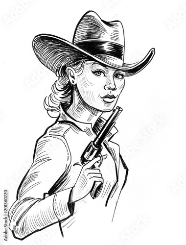 Pretty Cowgirl With A Gun Ink Black And White Drawing