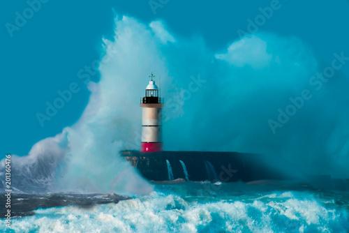 Fotobehang Vuurtoren Perfect storm - Lighthouse - Stormforce - Storm Chaser