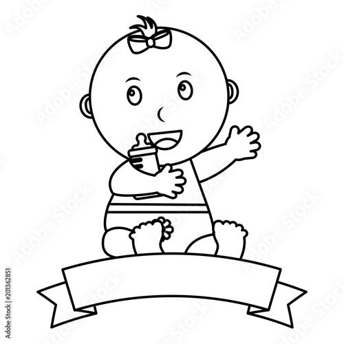 cute little baby girl sitting holding bottle milk emblem vector illustration outline