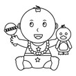 cute little baby boy sitting with duck and rattle toys vector illustration outline - 201363271