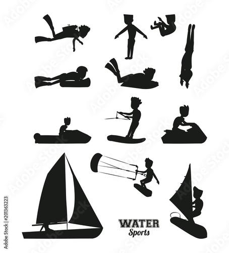 Sporty wodne sylwetki wektorowy ilustracyjny graficzny projekt