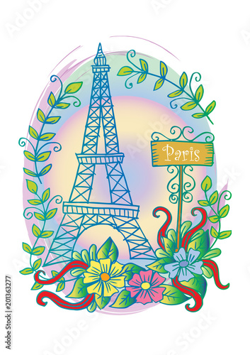 Sticker Eiffel tower with floral ornament.