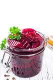 Pickled Beets Salad in the Jar. Selective focus. - 201364640