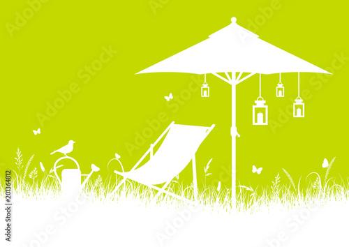 Krzesło płócienne Summer Meadow & Parasol DIN White / Light Green