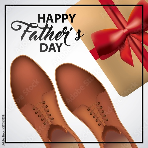 happy fathers day coffee shoes gift box red bow celebration date vector illustration
