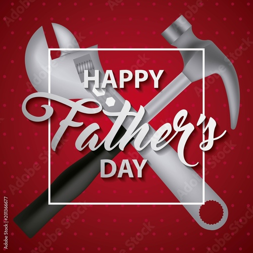 red dots background hammer wrench happy fathers day vector illustration