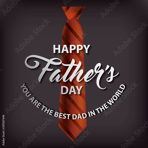 tie with stripes black background happy fathers day the best dad in the world vector illustration