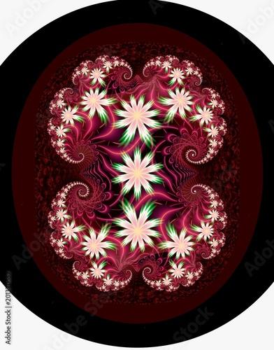 Digital fractal 3D design.Flower panel. - 201370632