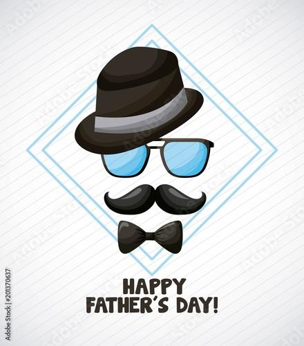 szczęśliwy dzień ojców niebieski diament z top hat okulary wąsy eleganckie wektorowej