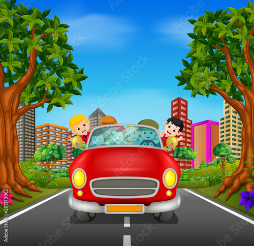 Fotobehang Auto Man and family driving a car on the road
