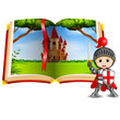 castle scenery in the book and a knight - 201373851