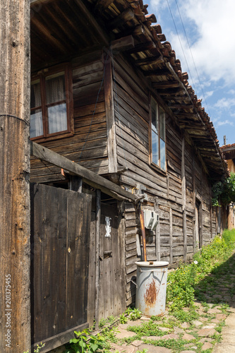 Poster Grijze traf. Houses of the nineteenth century in historical town of Kotel, Sliven Region, Bulgaria