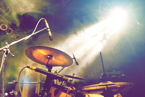 Drum on stage. Live music and instruments. Musical performance on stage. Recreation and music show