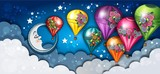 Banner Moon and Hot Air Balloons Floral
