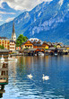 Hallstatt, Austria. View to Hallstattersee Lake and Alps - 201379894