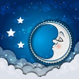 Moon Sleeping In The Clouds And The Stars
