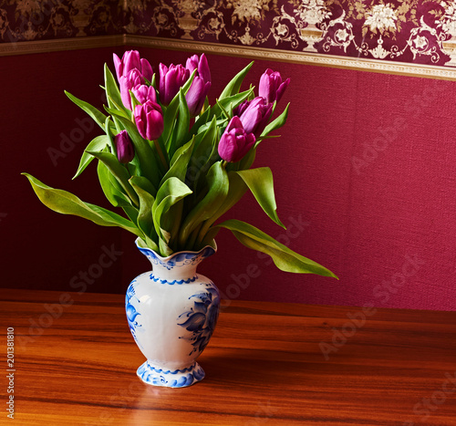 Lilac Tulips. Bud, petals, bouquet/Lilac tulips in a decorative vase stand on a table. Russia, Moscow, holiday, gift, mood, nature, flower, plant, bouquet, macro