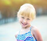 Portrait of happy girl outdoors - 201384819