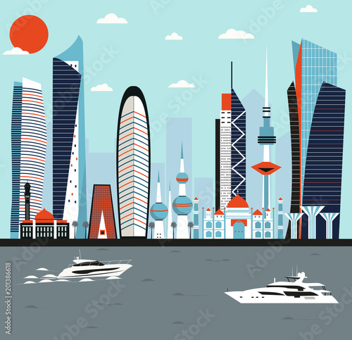 Kuwait modern city - 201386618