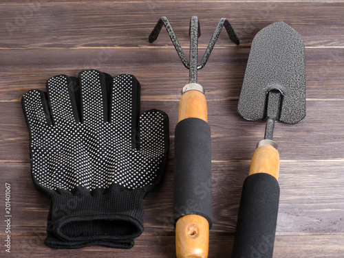 Foto Murales Garden tool and nylon gloves