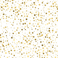 Gold stars. Confetti celebration, Falling golden abstract decoration for party, birthday celebrate, anniversary or event, festive. Festival decor. Seamless pattern