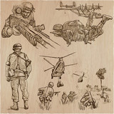 Soldiers, Army - An hand drawn vector collection. Warriors around the World. Freehand sketching, hand drawing. - 201411619