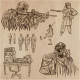 Soldiers, Army - An hand drawn vector collection. Warriors around the World. Freehand sketching, hand drawing. - 201411864
