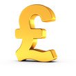 The Great Britain Pound symbol as a polished golden object with clipping path - 201412216