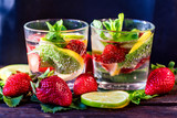 Homemade lemonade with strawberries and mint - 201415488