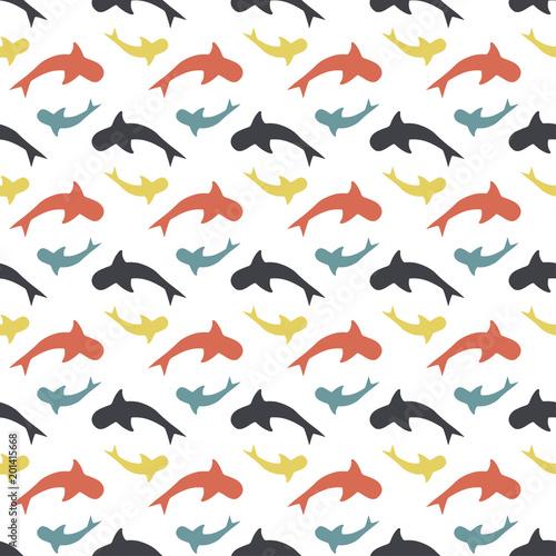 Fototapeta color pattern with sharks
