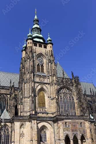 Gothic St. Vitus' Cathedral on Prague Castle in the sunny Day, Czech Republic - 201417261