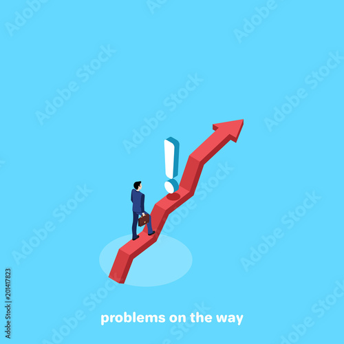 a man in a business suit on the arrow and an exclamation mark blocking the path, an isometric image